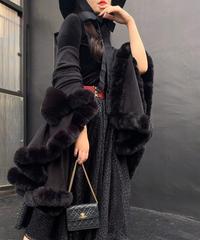 【pour Mademoiselle】再入荷!ロングファーポンチョ ブラック