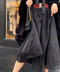 【pour Mademoiselle】レオパードチュールフレアスカート ブラック
