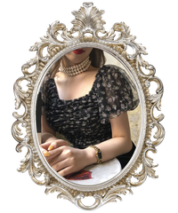 【pour Mademoiselle】オーガンジーフラワーシャーリングトップス ブラック