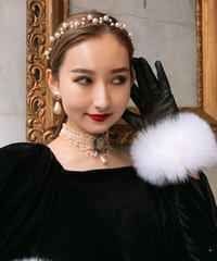 【pour Mademoiselle】パールカチューシャ ピンクゴールド