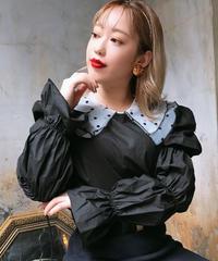【pour Mademoiselle】デザインスリーブブラウス ブラック