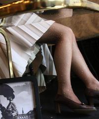 【pour Mademoiselle】ラインストーンタイツ ブラウン