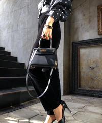 【pour Mademoiselle】ベロアパンツ  ブラック