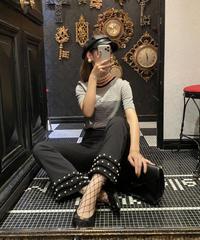 【pour Mademoiselle】パールフリンジパンツ ブラック