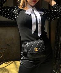 【pour Mademoiselle】スリーブシースルードットトップス ブラック
