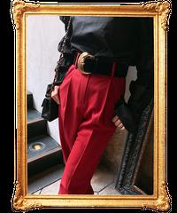 【pour Mademoiselle】ゴールドバックルデザインベルト ブラック