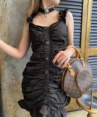 【pour Mademoiselle】ギャザーフロントボタンミニワンピース ブラック