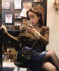 【pour Mademoiselle】シースルーネックラメニットトップス ゴールド