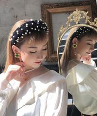 【pour Mademoiselle】ベロアパールカチューシャ ブラック