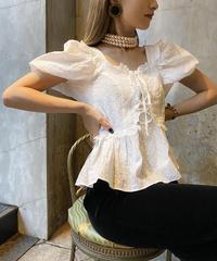 【pour Mademoiselle】刺繍レースブラウス ホワイト