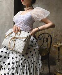 【pour Mademoiselle】オーガンジードットシャーリングトップス ホワイト