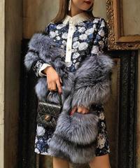 【pour Mademoiselle】フラワーレースカラーワンピース ブルー