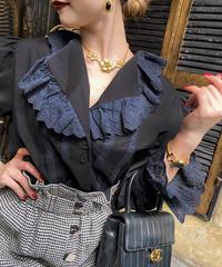【pour Mademoiselle】コットン刺繍レース長袖ブラウス ブラック
