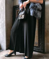 【pour Mademoiselle】プリーツワイドパンツ ブラック