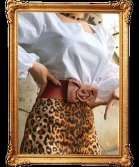 【pour Mademoiselle】リボンゴムベルト ブラウン