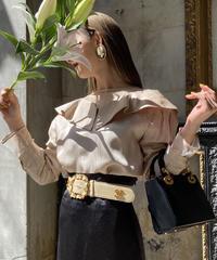 【pour Mademoiselle】シースルーネックトップス ベージュ