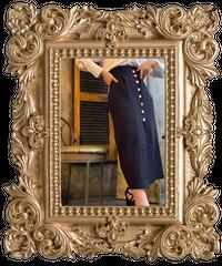 【pour Mademoiselle】千鳥柄パールボタンスカート ネイビー