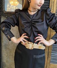 【pour Mademoiselle】シャーリングサテンブラウス ブラック