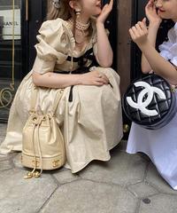 【pour Mademoiselle】パフスリーブリボンワンピース ベージュ