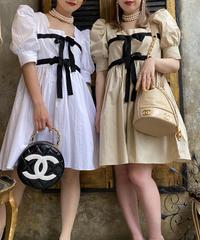 【pour Mademoiselle】パフスリーブリボンワンピース ホワイト