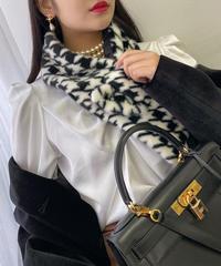 【pour Mademoiselle】千鳥格子ファーティペット ブラック