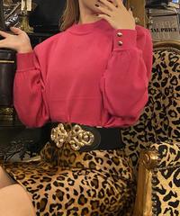 【YVES SAINT LAURENT】ロゴ刺繍ニット ピンク