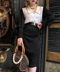 【pour Mademoiselle】シャーリングタイトスカート ブラック