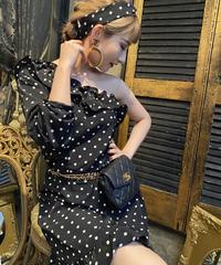 【pour Mademoiselle】ワンショルダードットワンピース ブラック