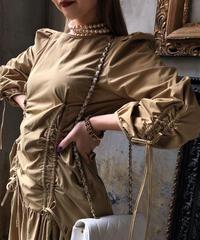 【pour Mademoiselle】シャーリングリボンワンピース ベージュ