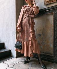 【pour Mademoiselle】デザインレースフリルワンピース ベージュ