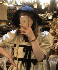 【pour Mademoiselle】リボンフリル帽子 ブラック