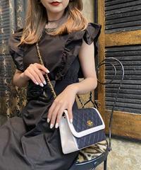 【pour Mademoiselle】ショルダーフリルミニワンピース ブラック