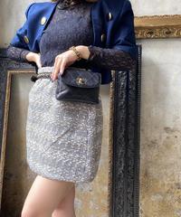【pour Mademoiselle】ツイードハウンドトゥースミニスカート グレー/ブラック