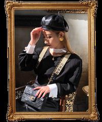 【pour Mademoiselle】バイカラーオープンネックブラウス ブラック