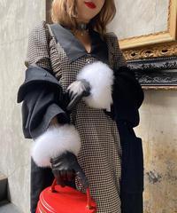 【pour Mademoiselle】千鳥格子パフスリーブロングワンピース ブラック