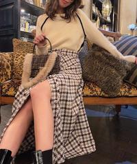 【pour Mademoiselle】チェックパターンフロントボタンフレアスカート ブラウン