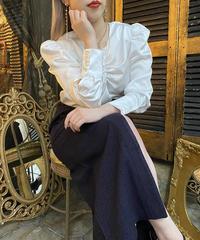【pour Mademoiselle】シャーリングサテンブラウス ホワイト