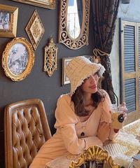 【pour Mademoiselle】ツイードチェックバケットハット ホワイト