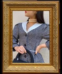 【pour Mademoiselle】リネンWポケットワンピース ブラック