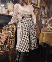 【pour Mademoiselle】チェックパターンフロントボタンフレアスカート ブラック