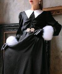 【pour Mademoiselle】パールフラワーバックルベルト ブラック