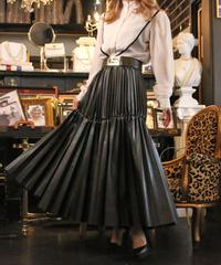 【pour Mademoiselle】レザープリーツスカート ブラック