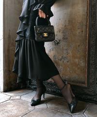 【pour Mademoiselle】デザインレースフリルワンピース ブラック