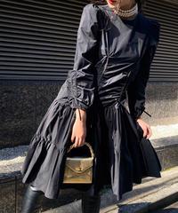 【pour Mademoiselle】シャーリングリボンワンピース ブラック
