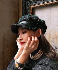 【pour Mademoiselle】ツイードチェックキャスケット グリーン