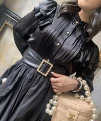 【pour Mademoiselle】サテンパールボタンブラウス ブラック