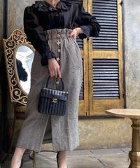 【pour Mademoiselle】千鳥柄パールボタンスカート ブラック