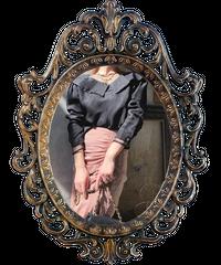 【pour Mademoiselle】シースルーネックトップス ブラック