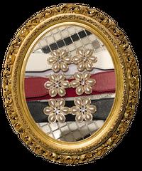 【pour Mademoiselle】パールフラワーバックルベルト レッド
