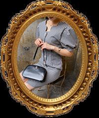 【pour Mademoiselle】スカラップ袖ギンガムチェックワンピース ブラック